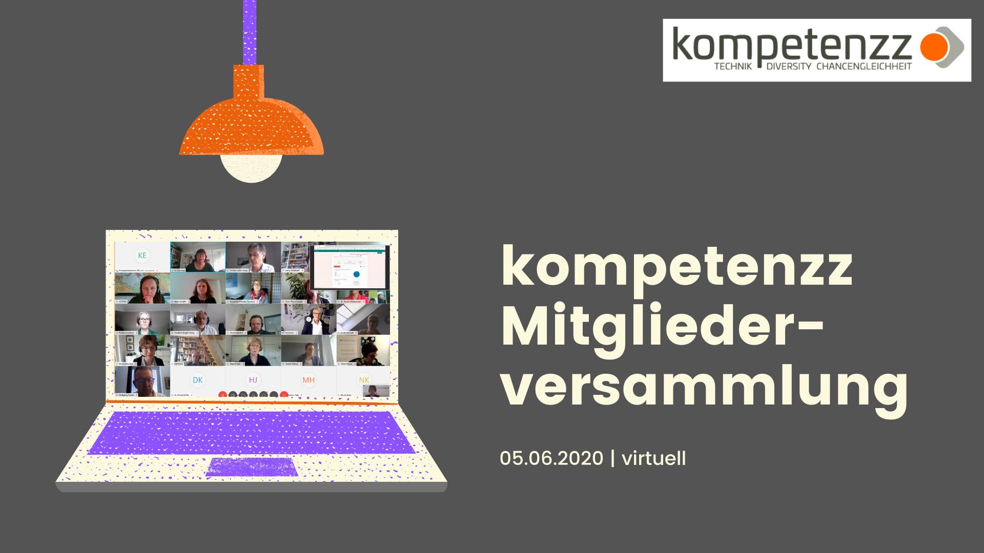 Bild eines Laptops auf dem eine virtuelle Versammlung zu sehen ist