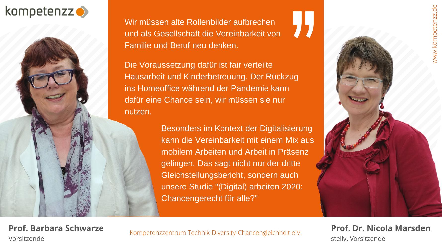 Statement zum 3. Gleichstellungsbericht und Fotos der Statementgeberinnen Prof. Barbara Schwarze und Prof. Dr. Nicola Marsden