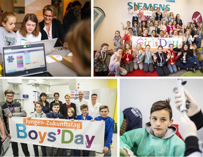 Collage aus mehreren Fotos von Teilnehmenden des Girls'Day und Boys'Day