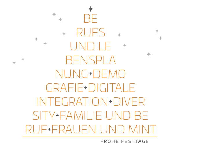 Grafik Weihnachtsbaum aus Wörtern