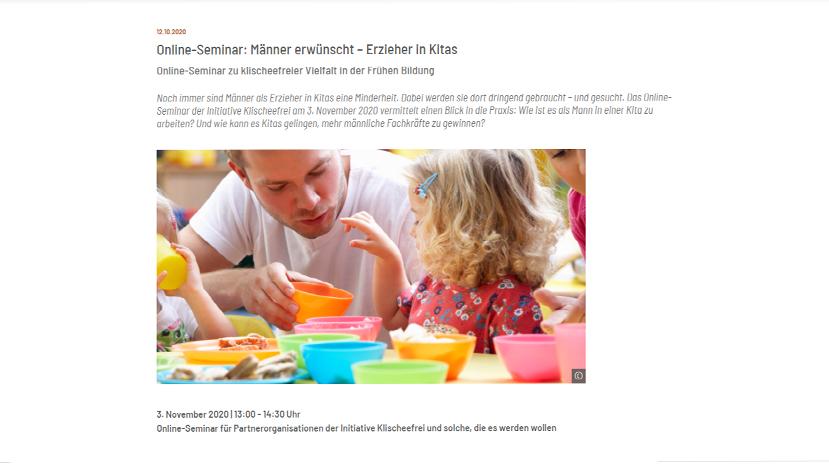 """Klischeefrei Online Seminar """"Mehr Männer in Kitas"""""""