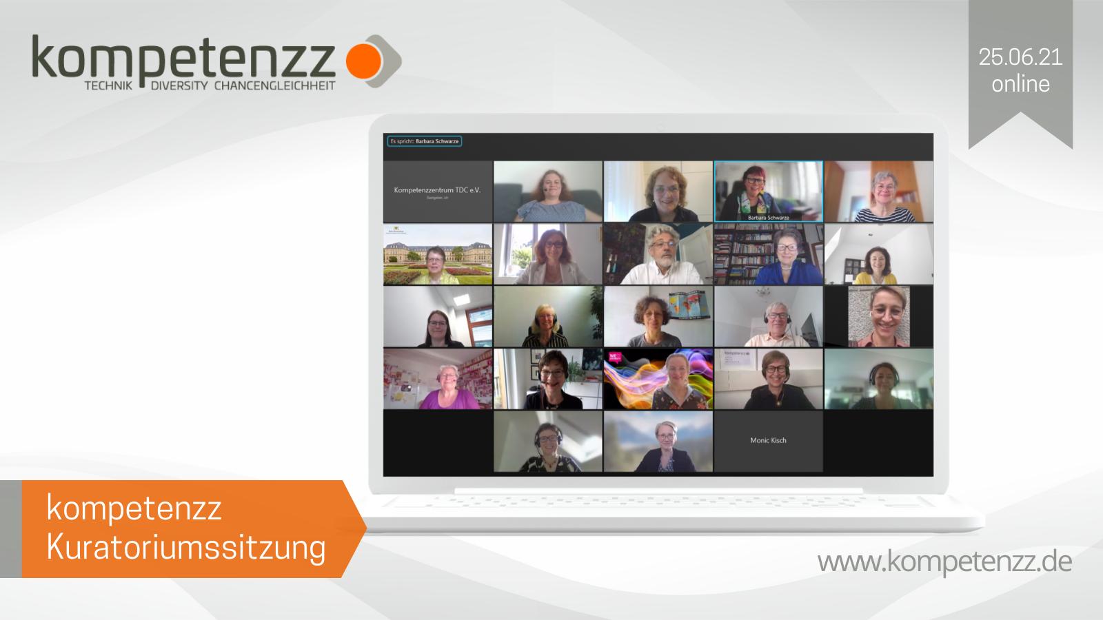Screenshot der Kuratoriumssitzung kompetenzz 2021