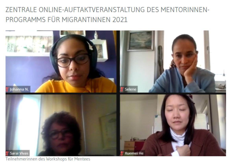 Teilnehmerinnen des Workshops für Mentees auf einem Bildschirm