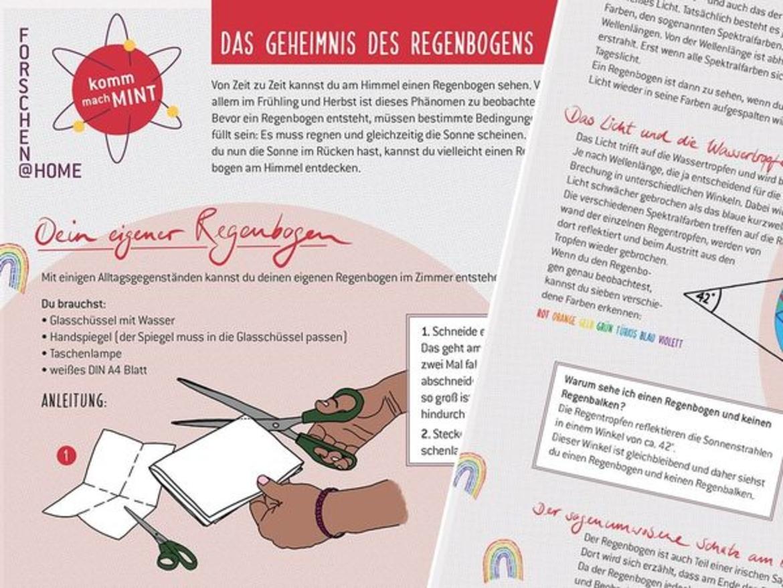 """Ausschnitte des Arbeitsblatts """"Das Geheimnis des Regenbogens"""""""