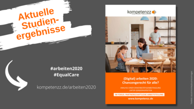 """Titelbild der Studie (Digital) arbeiten 2020 mit Webadresse und Hashtags und Zusatz """"Aktuelle Studienergebnisse"""""""