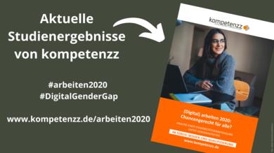 Titelbild der Studie (Digital) arbeiten 2020 mit Webadresse und Hashtags